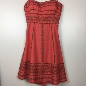 BCBG MaxAzria coral embroidered midi dress sz L